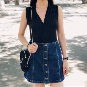Aritzia Wilfred Free Denim Button Mini Skirt